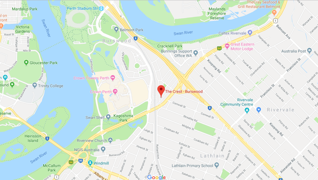 Map of The Crest, Burswood