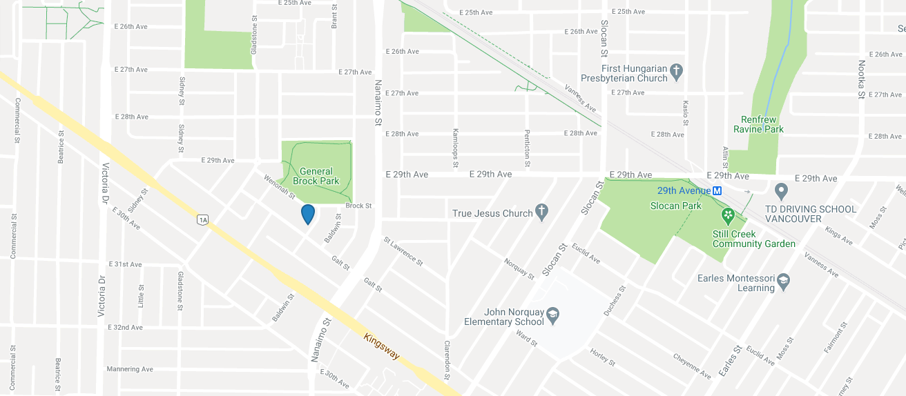 Map of Brock House in Vancouver, BC