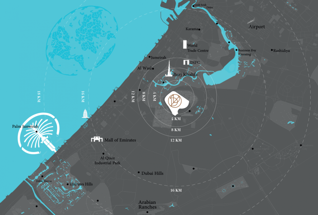 Map of District One MBR City by Meydan Sobha
