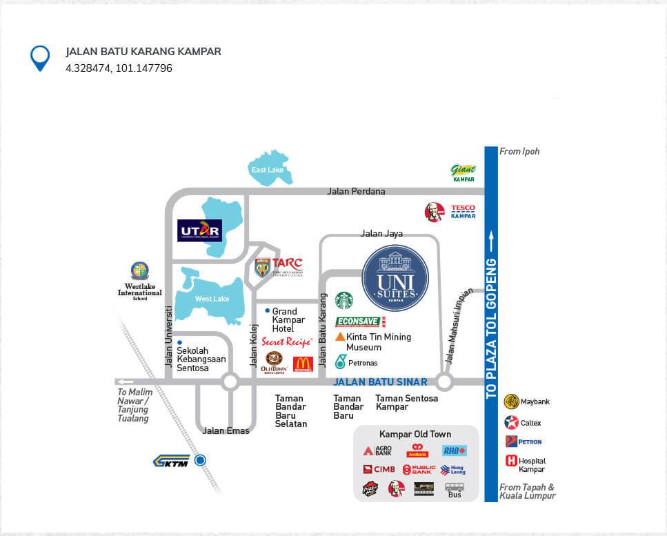 Map of UniSuites Kampar