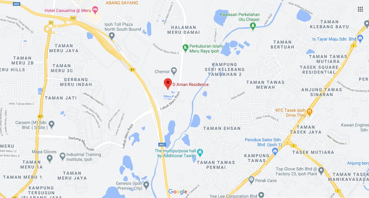 Map of D'Aman Residensi @ Bandar Meru Raya Ipoh