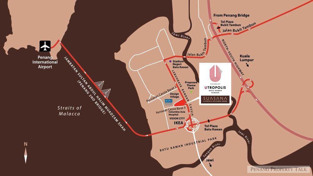 Map of Utropolis Batu Kawan, Penang