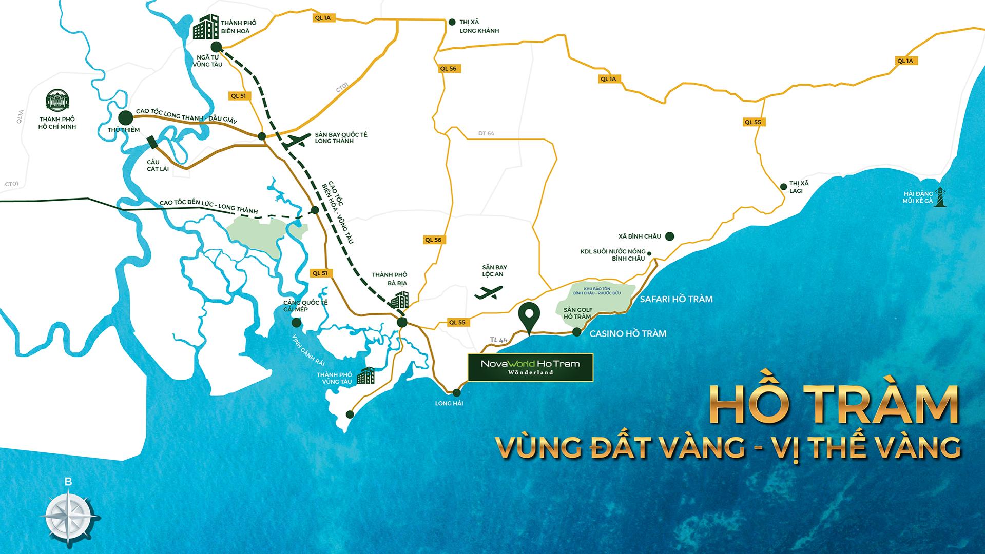Map of Novaworld Hồ Tràm - Wonderland