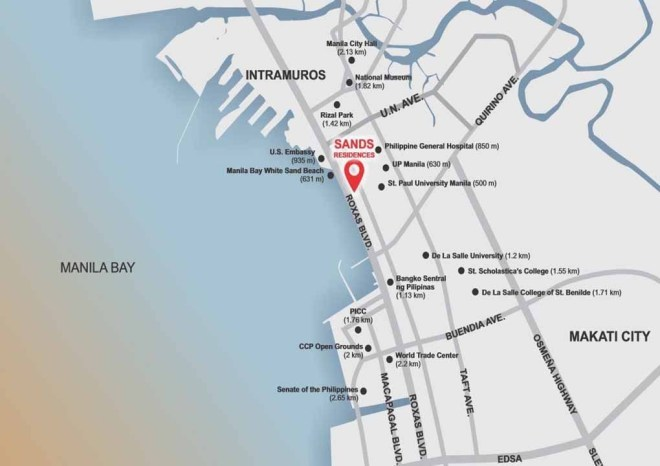 Map of Sands Residences