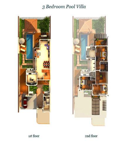 Three bedroom pool villa in Laguna Phuket Floor plan #1