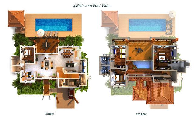 4 bedroom pool villa in Laguna Phuket Floor plan #1